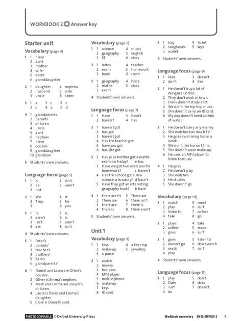Prime Time 4 Workbook Answer Key