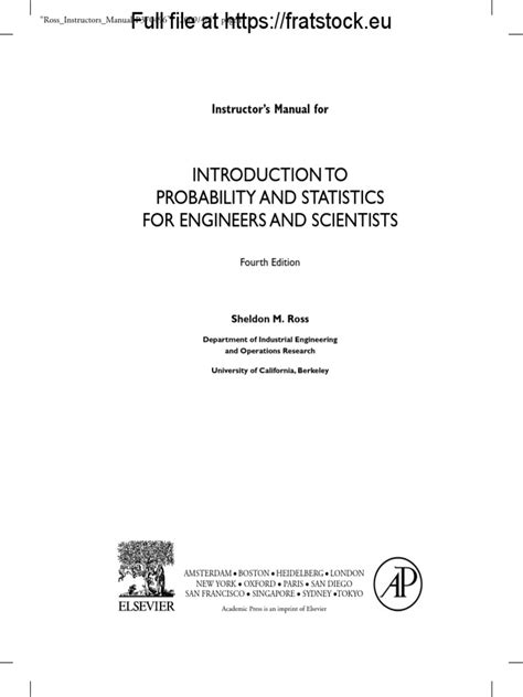 Probability And Statistics For Engineers Scientists Solution Manual Sheldon Ross