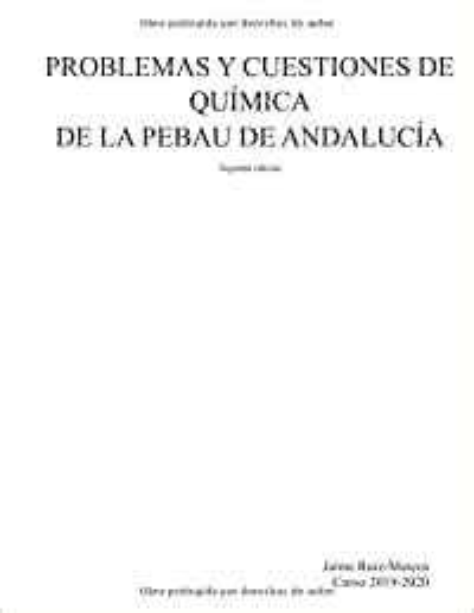 Problemas Y Cuestiones De Quimica De La Pebau De Andalucia