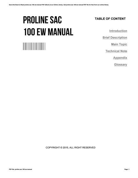Proline Sac 100u Manual