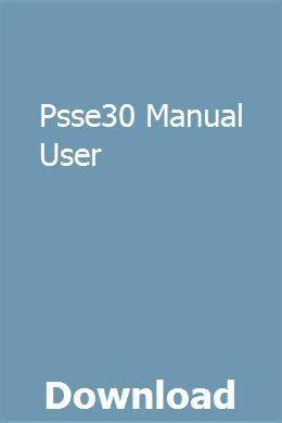 Psse30 Manual User