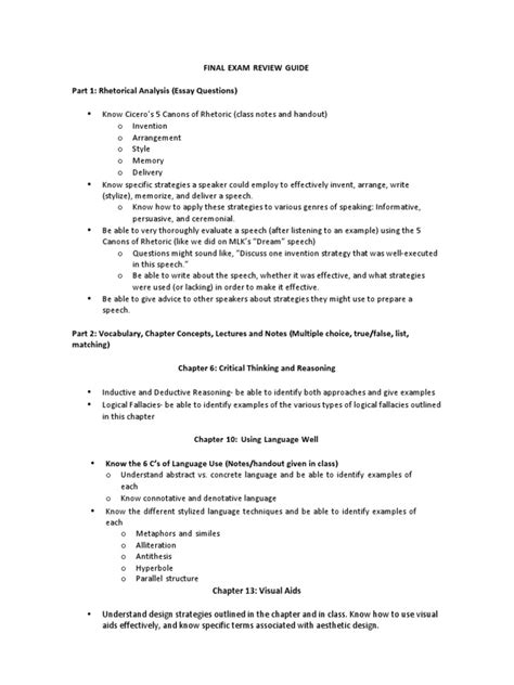 Public Speaking Final Exam Study Guide