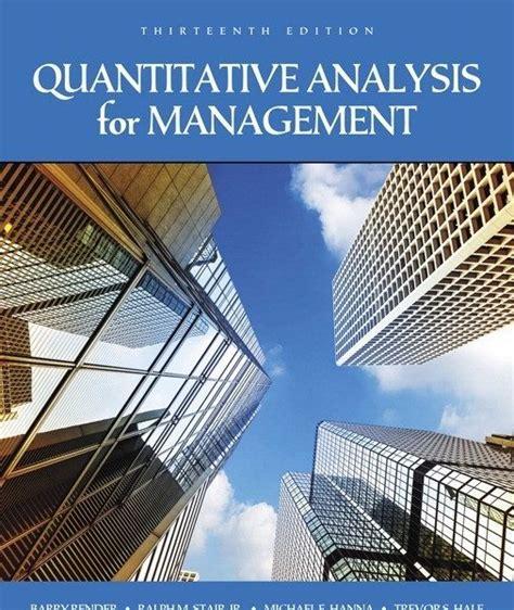 Quantitative Analysis For Management Render Solution Manual