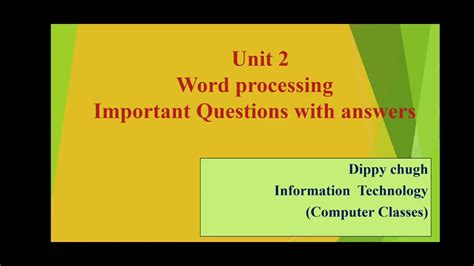 Questions And Answers On Word Processing