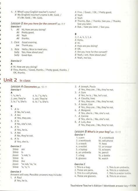 Quizzes Answer Key Teacher Touchstone 1