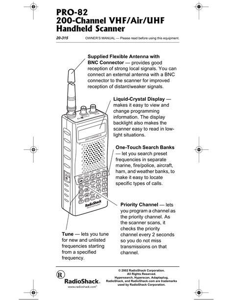 Radio Shack 20 315 Scanner Manual