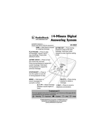 Radio Shack Digital Telephone Answering Device Manual
