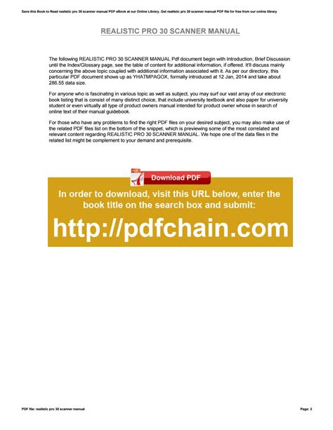 Realistic Pro 30 Scanner Manual