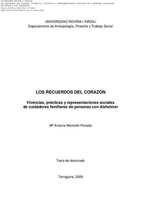 Recuerdos Del Corazon Vivencias Practicas Y Representaciones Sociales De Familiares Cuidadores De Personas Con Alzheimer