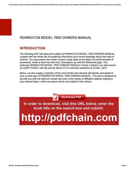 Remington 7600 Owners Manual