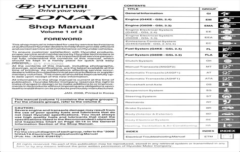 Repair Manual 2009 Hyundai Sonata