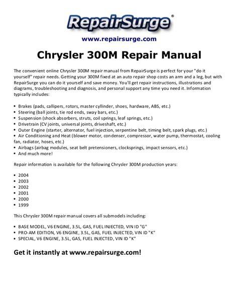 Repair Manual Chrysler 300m