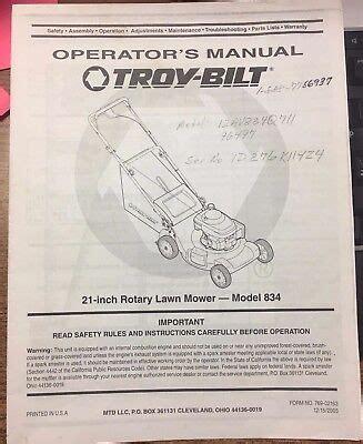 Repair Manual For Troy Bilt Mower