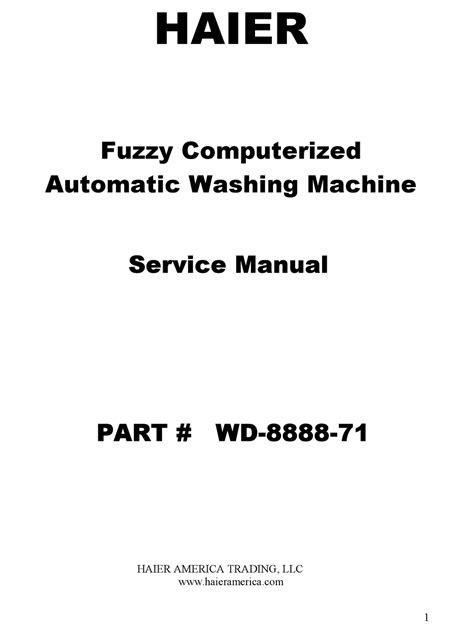 Repair Manual Haier Wd 8888 28 Washing Machine