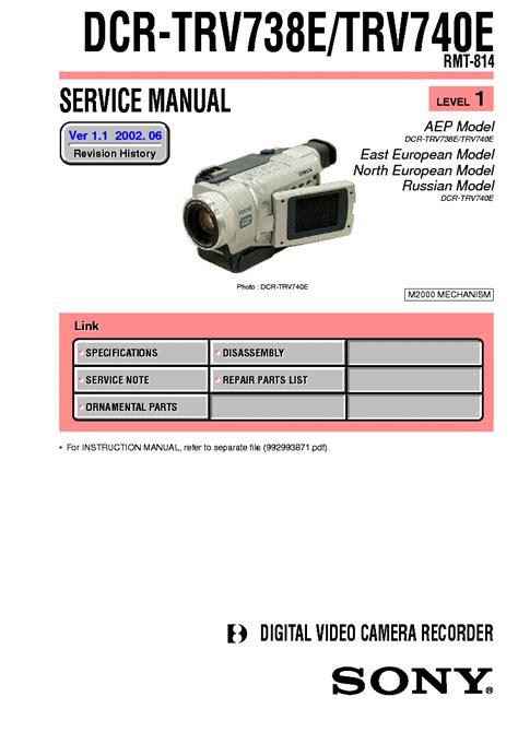Repair Manual Sony Dcr Trv738e Trv740 Video Camera Recorder