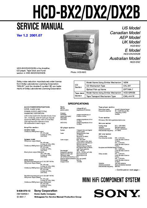 Repair Manual Sony Hcd Dx2 Hcd Dx2b Mini Hi Fi Component System