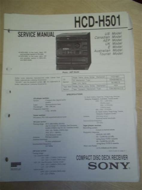 Repair Manual Sony Hcd G3000 Cd Deck Receiver