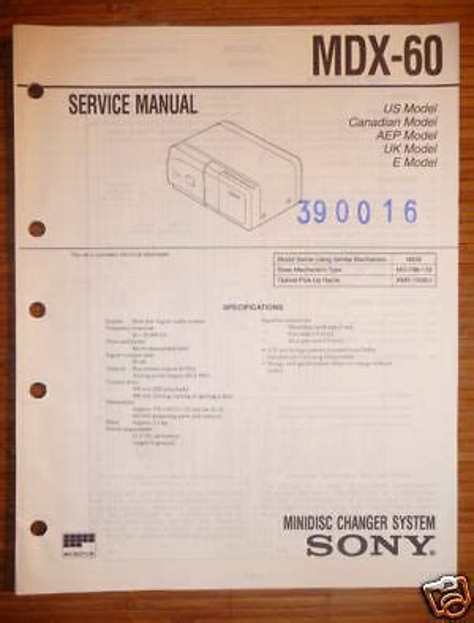 Repair Manual Sony Mdx 60 Mini Disc Changer System