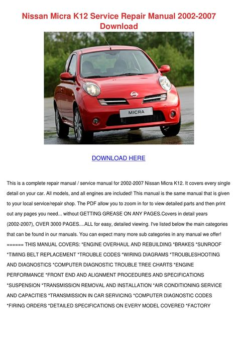 Repair Manuals For Nissan Micra