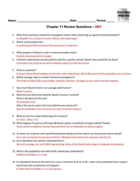 Review Blood And Spatter Answer Key