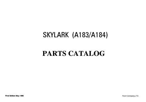 Ricoh Skylark A183 A184 Service Repair Manual Parts Catalog
