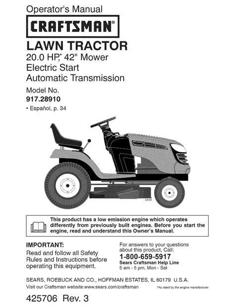 Riding Lawn Mower Repair Manual Craftsman 42