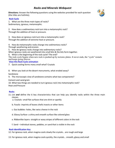 Rock And Mineral Webquest Answer Key