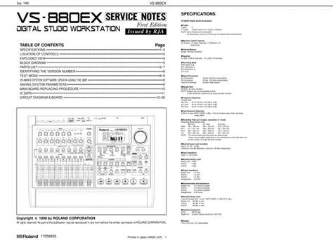 Roland Vs880 Ex Vs880ex Vs 880 Service Manual