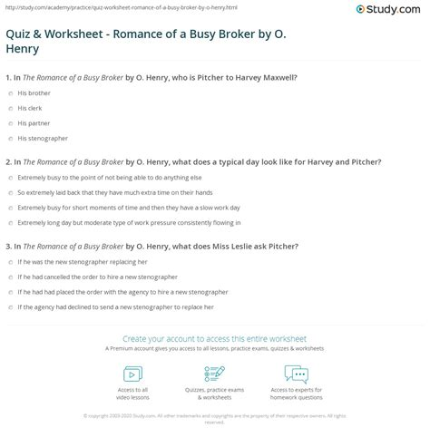 Romance Of A Busy Broker Answer