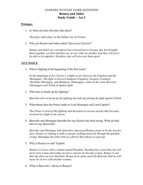 Romeo And Juliet Study Guide Questions And Answers Act 2