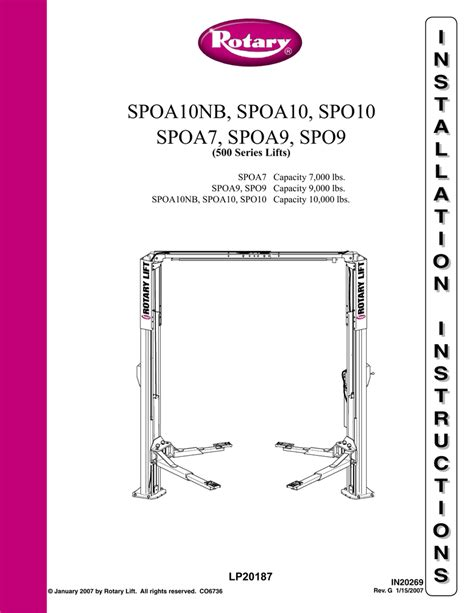 Rotary Lift Sp09 Install Guide