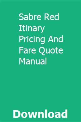 Sabre Red Itinary Pricing And Fare Quote Manual