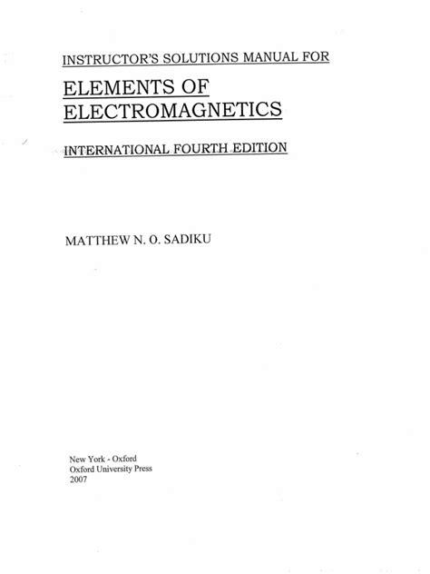 Sadiku Electromagnetic Solution Manual