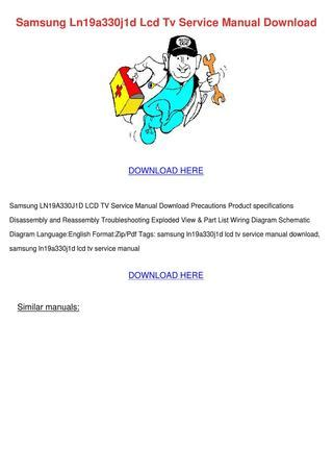Samsung Ln19a330j1d Lcd Tv Service Manual