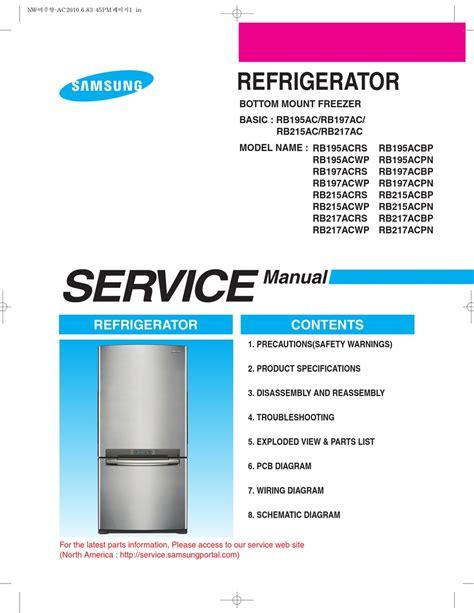 Samsung Rb195acrs Rb195acbp Refrigerator Service Manual
