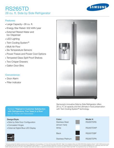 Samsung Rs265tdrs Manual