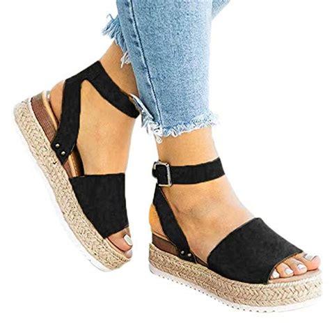 Sandales Plates Femme Ciellte Sandales Compensees Femme Chaussures Plates Chaussures De Plage Femmes Chaussures D Ete Loisirs Dames