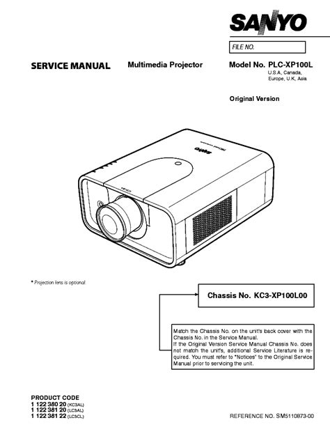 Sanyo Plc Xp100l Projector Service Manual