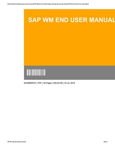 Sap Wm End User Manual