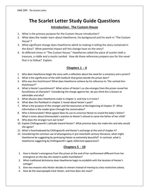 Scarlett Letter Study Guide Questions And Answers