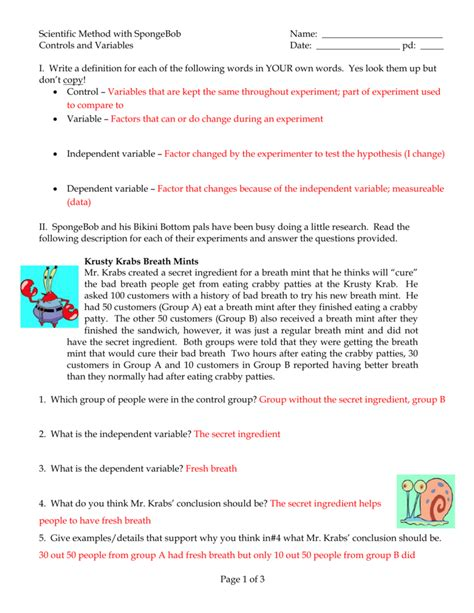 Scientific Method Controls And Variables Spongebob Answers Part 1