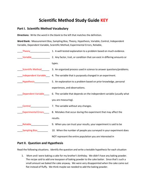Scientific Method Study Guide Answers