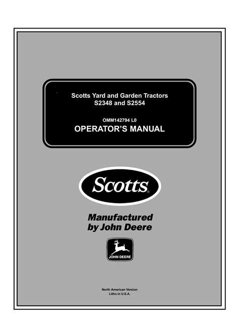 Scotts John Deere S2554 Manual