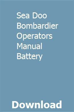 Sea Doo Bombardier Operators Manual Battery