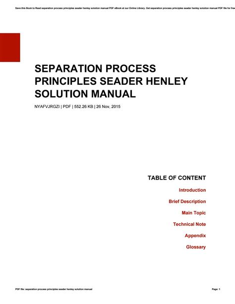 Seader Separation Process Principles Problems Solution Manual