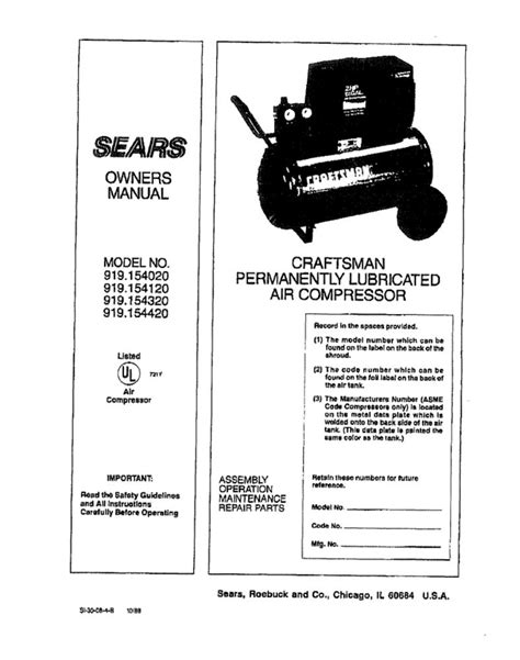 Sears Air Compressor Owners Manual