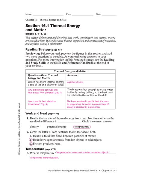 Section 16 1 Thermal Energy And Matter Answer Key
