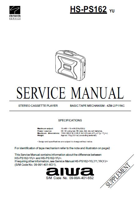 Service Manual Aiwa Hs Ps162 Stereo Cassette Player