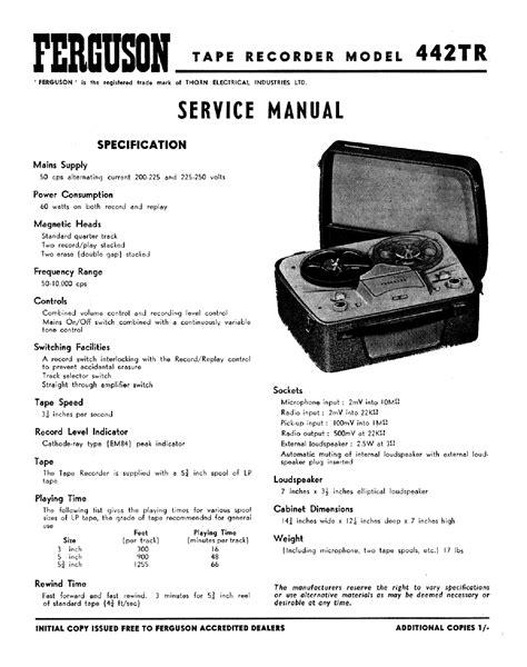Service Manual Ferguson Fv95 Hv Video Recorder