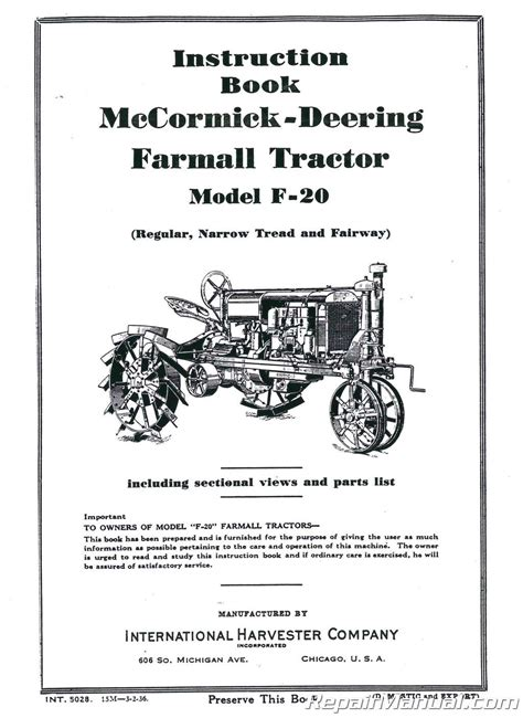 Service Manual For Farmall F20